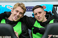 Fleetwood Town's Harvey Rodgers and Ashley Hunter<br /> <br /> Photographer Andrew Kearns/CameraSport<br /> <br /> The EFL Sky Bet League One - Milton Keynes Dons v Fleetwood Town - Saturday 11th November 2017 - Stadium MK - Milton Keynes<br /> <br /> World Copyright &copy; 2017 CameraSport. All rights reserved. 43 Linden Ave. Countesthorpe. Leicester. England. LE8 5PG - Tel: +44 (0) 116 277 4147 - admin@camerasport.com - www.camerasport.com