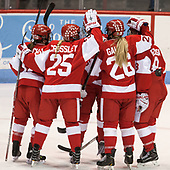 Victoria Bach (BU - 12), Alexis Crossley (BU - 25), Mary Parker (BU - 15), Connor Galway (BU - 26), Deziray De Sousa (BU - 8) - The Harvard University Crimson tied the Boston University Terriers 6-6 on Monday, February 7, 2017, in the Beanpot consolation game at Matthews Arena in Boston, Massachusetts.