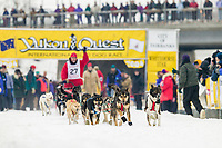 Musher Mark May at the start of the 1000 mile 2004 Yukon Quest in Fairbanks, Alaska