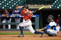 Ernie Clement (4) of the Virginia Cavaliers follows through on his swing against the Duke Blue Devils in Game Seven of the 2017 ACC Baseball Championship at Louisville Slugger Field on May 25, 2017 in Louisville, Kentucky. The Blue Devils defeated the Cavaliers 4-3. (Brian Westerholt/Four Seam Images)