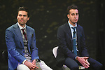 Defending Champion Tom Dumoulin (NED) and Italian National Champion Fabio Aru (ITA) on stage at the Giro d'Italia 2018 Route Presentation held in the RAI TV Studios, Milan, Italy. 29th November 2017.<br /> Picture: LaPresse/Fabio Ferrari | Cyclefile<br /> <br /> <br /> All photos usage must carry mandatory copyright credit (&copy; Cyclefile | LaPresse/Fabio Ferrari)