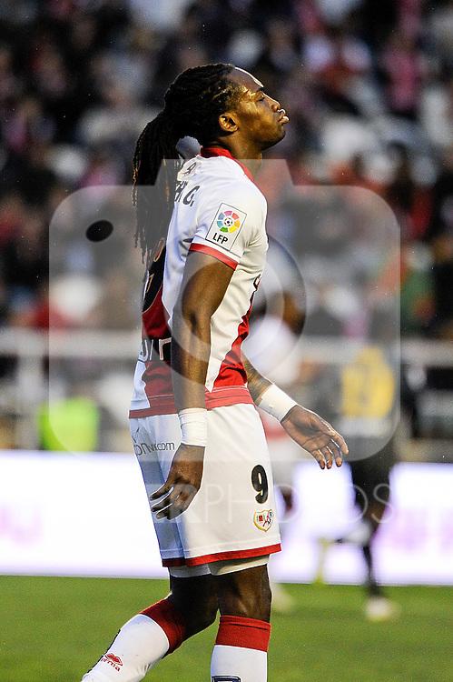 Rayo Vallecano´s Manucho during 2014-15 La Liga match between Rayo Vallecano and Malaga CF at Rayo Vallecano stadium in Madrid, Spain. March 21, 2015. (ALTERPHOTOS/Luis Fernandez)