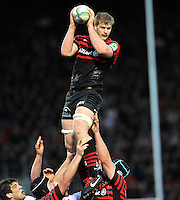 Watford, England. George Kruis of Saracens wins the line out during the Heineken Cup match between Saracens and Munster Rugby at the Vicarage Road on December 16, 2012 in Watford, England.