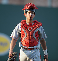 Catcher Sebastian Valle (9) of the Lakewood BlueClaws walks in from the bullpen before a game against the Greenville Drive on May 13, 2010, at Fluor Field at the West End in Greenville, S.C. Photo by: Tom Priddy/Four Seam Images