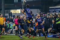 Joe LUCA SMITH of London Scottish collects a high ball during the Championship Cup match between London Scottish Football Club and Ealing Trailfinders at Richmond Athletic Ground, Richmond, United Kingdom on 23 November 2018. Photo by David Horn/PRiME Media Images