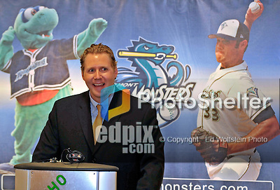 23 May 2008: Vermont Lake Monsters' General Manager C.J. Knudsen introduces Senator Patrick Leahy (D) who proceeds to announce an upcoming baseball event wherein the Boston Red Sox 2007 World Series trophy will make a special appearance at Historic Centennial Field on Friday, June 27th, 2008, when the Vermont Lake Monsters will host the Red Sox New York-Penn League affiliate, the Lowell Spinners. The trophy will be on display at the field before the game and fans will then have a chance to have their picture taken with the trophy during the game...Mandatory Photo Credit: Ed Wolfstein Photo