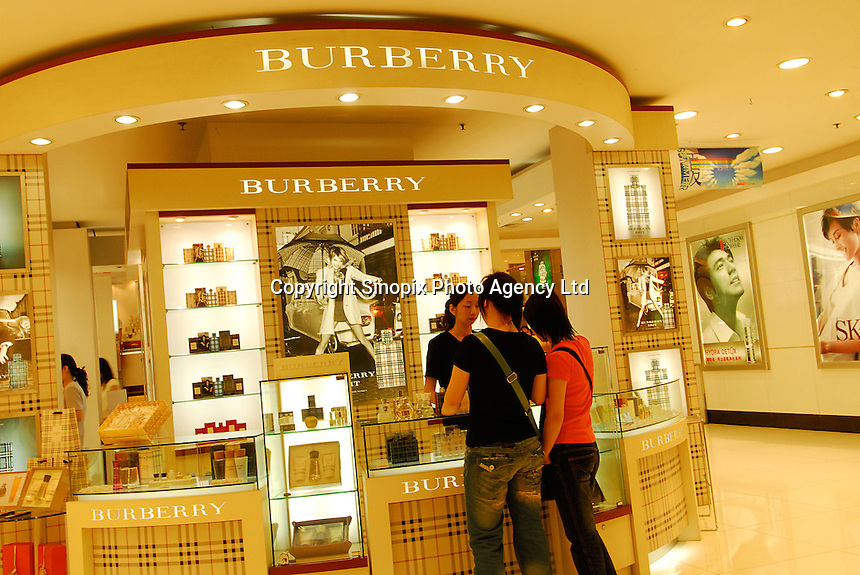 A Burberry outlet in Guangzhou, China. Burberry have been expanding rapidly in mainland China..28 May 2006.