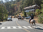 Days of '49 wagon train as they arrive into Amador City, Calif.<br /> <br /> Diamond Jubilee commemoration of the founding of Amador County in 1854