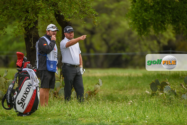 Graeme McDowell (NIR) looks over his second shot from the rough on 1 during day 4 of the Valero Texas Open, at the TPC San Antonio Oaks Course, San Antonio, Texas, USA. 4/7/2019.<br /> Picture: Golffile | Ken Murray<br /> <br /> <br /> All photo usage must carry mandatory copyright credit (© Golffile | Ken Murray)