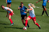 Kansas City, MO - Wednesday August 16, 2017: Yael Averbuch, Julie Ertz during a regular season National Women's Soccer League (NWSL) match between FC Kansas City and the Chicago Red Stars at Children's Mercy Victory Field.