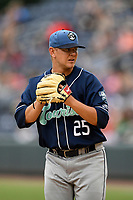 Starting pitcher Will Gaddis (25) of the Asheville Tourists in a game against the Greenville Drive on Friday, June 1, 2018, at Fluor Field at the West End in Greenville, South Carolina. Greenville won, 7-4. (Tom Priddy/Four Seam Images)
