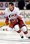 6 February 2007: Carolina Hurricanes center Eric Belanger warms up prior to facing the Montreal Canadiens at the Bell Centre in Montreal, Canada. ....Mandatory Photo Credit: Ed Wolfstein Photo *** Editorial Sales through Icon Sports Media *** www.iconsportsmedia.com