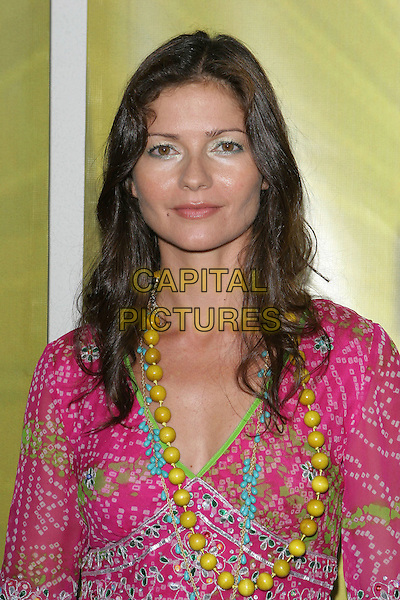 JILL HENNESSEY.Las Vegas Cocktail Party held at The Beverly Hilton, Beverly Hills, CA..July 24th, 2005.Photo credit: Jacqui Wong/AdMedia.headshot portrait pink flowing pattern print summery yellow beaded necklace.www.capitalpictures.com.sales@capitalpictures.com.© Capital Pictures.