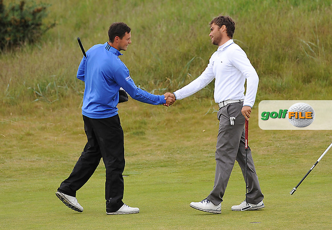 Romain Langasque of France (R) defeats Jack McDonald of Kilmarnock in a playoff during the Semi-Finals of the 120th Amateur Championship at Carnoustie Golf Links, Carnoustie, Scotland. Picture: Golffile | Richard Martin Roberts<br /> All photo usage must carry mandatory copyright credit (&copy; Golffile | Richard Martin Roberts)