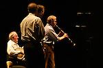 *** EXCLUSIVE Coverage ***.Woody Allen and his New Orleans Jazz Band performing at Placio De Los Congresos y De La Musica Euskalduna in Bilbao, Spain..( with Jerry Zigmont and Simon Wettenhall & Eddy Davis ).December 29, 2004.© Walter McBride /