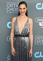 SANTA MONICA, CA - JANUARY 11:  Gal Gadot at the 23rd Annual Critics' Choice Movie Awards at Barker Hangar on January 11, 2018 in Santa Monica, California. (Photo by Scott Kirkland/PictureGroup)