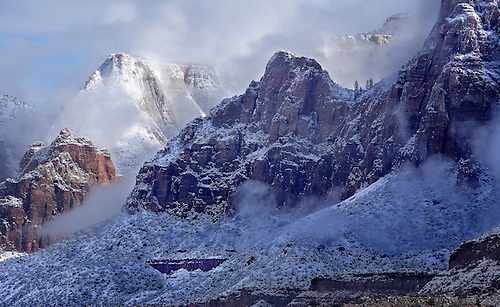A blanket of fresh snow highlights the winter landscape at Zion National Park, Utah