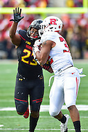 College Park, MD - NOV 26, 2016: Maryland Terrapins linebacker Jermaine Carter Jr. (23) is beat for a pass to Rutgers Scarlet Knights running back Justin Goodwin (32) but strips the ball away for a turnover during game between Maryland and Rutgers at Capital One Field at Maryland Stadium in College Park, MD. Maryland defeated Rutgers 31-13. (Photo by Phil Peters/Media Images International)