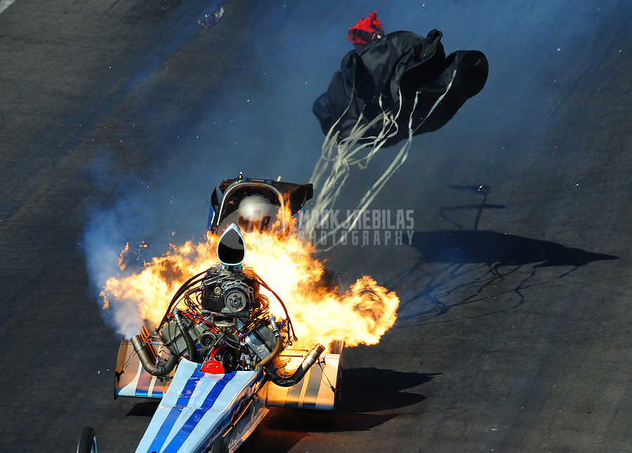 "Mar. 8, 2008; Bakersfield, CA, USA; Nostalgia top fuel dragster driver Mike McLennan suffers a massive fire during qualifying for the 50th annual March Meet at the Auto Club Famoso Raceway.  McLennan was engulfed in a giant fireball as the engine exploded and raw fuel fed the fire. ""It was definitely interesting,"" said McLennan, 47. ""It went from what felt like a perfect run to orange and red. It didn't give any warning, it just went.""  Mandatory Credit: Mark J. Rebilas"