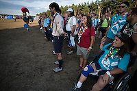 The Poutoguese contingent are singing a national hymn outside the dining hall in Spring Sub-camp. Photo: Jonas Elmqvist