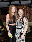 Niamh Devlin and Ellen Butterly pictured at Naomh Fionnbarra fancy dress party in the Grove hotel Dunleer. Photo:Colin Bell/pressphotos.ie