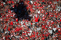 Ohio State fans watch as the Buckeyes score a touchdown during the first half of a NCAA Division I college football game between the Ohio State Buckeyes and the Indiana Hoosiers on Saturday, October 8, 2016 at Ohio Stadium in Columbus, Ohio. (Joshua A. Bickel/The Columbus Dispatch)