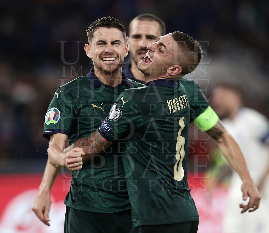 Football: Euro 2020 Group J qualifying football match Italy vs Greece at the Olympic stadium, in Rome, on October 12, 2019.<br /> Italy's Jorginho (l) celebrates after scoring with his team mate Marco Verratti (r) during the Euro 2020 qualifying football match between Italy and Greece at the Olympic stadium, in Rome, on October 12, 2019.<br /> UPDATE IMAGES PRESS/Isabella Bonotto