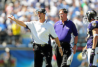 Sep. 20, 2009; San Diego, CA, USA; Baltimore Ravens head coach Jim Harbaugh against the San Diego Chargers at Qualcomm Stadium in San Diego. Baltimore defeated San Diego 31-26. Mandatory Credit: Mark J. Rebilas-