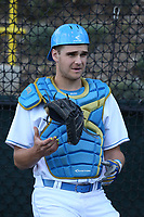 Ty Haselman (41) of the UCLA Bruins in the bullpen during a game against the California Bears at Jackie Robinson Stadium on March 25, 2017 in Los Angeles, California. UCLA defeated California, 9-4. (Larry Goren/Four Seam Images)