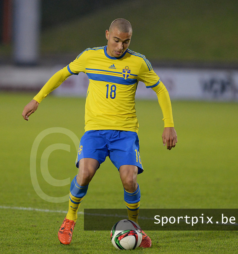 20151012 - DEINZE , BELGIUM  : Swedish Jordan Larsson pictured during the soccer match between Under 19 teams Sweden and Belgium , on the third and last matchday in group 13 of the UEFA Qualifying Round Under 19 in Deinze , Belgium . Monday  12 th October  2015 . PHOTO DAVID CATRY