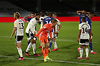 30th July 2020; Craven Cottage, London, England; English Championship Football Playoff Semi Final Second Leg, Fulham versus Cardiff City; The Cardiff City players hold their heads as Marek Rodak of Fulham screams at his defence after a double save