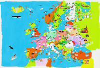 Illustrated map of European culture and wildlife