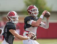 NWA Democrat-Gazette/BEN GOFF @NWABENGOFF<br /> Cole Kelley, Arkansas quarterback, Wednesday, Aug. 8, 2018, at the Arkansas practice field in Fayetteville.