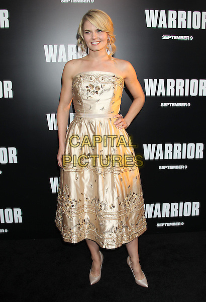 "Jennifer Morrison.""Warrior"" World Premiere held at Arclight Cinemas, Hollywood, California, USA..September 6th, 2011.full length gold dress strapless embroidered hand on hip.CAP/ADM/RE.©Russ Elliot/AdMedia/Capital Pictures."