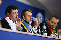 Henrik Stenson (EUR) sips on champagne at the final European Team Press Conference after Sunday's Singles at the 2014 Ryder Cup from Gleneagles, Perthshire, Scotland. Picture:  David Lloyd / www.golffile.ie