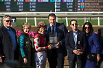 ARCADIA, CA  APRIL 7:  Mike Smith and connections in the winners circle after #3 Midnight Bisou wins the Santa Anita Oaks (Grade l) on April 7, 2018, at Santa Anita Park in Arcadia, Ca. (Photo by Casey Phillips/ Eclipse Sportswire/ Getty Images)