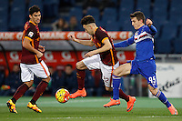 Calcio, Serie A: Roma vs Sampdoria. Roma, stadio Olimpico, 7 febbraio 2016.<br /> Roma&rsquo;s Stephan El Shaarawy, center, flanked by his teammate Diego Perotti, left, is challenged by Sampdoria&rsquo;s David Ivan during the Italian Serie A football match between Roma and Sampdoria at Rome's Olympic stadium, 7 January 2016.<br /> UPDATE IMAGES PRESS/Riccardo De Luca