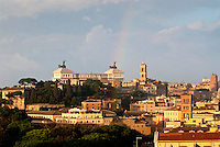 View over the historic centre of Rome from 'Giardino degli Aranci' (Orange Garden) in Aventino.