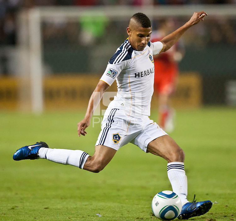CARSON, CA – June 11, 2011: LA Galaxy defender Sean Franklin (5) during the match between LA Galaxy and Toronto FC at the Home Depot Center in Carson, California. Final score LA Galaxy 2, Toronto FC 2.