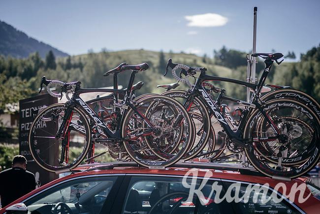 roof-racked Ridleys<br /> <br /> Stage 18: Moena &rsaquo; Ortisei/St. Urlich (137km)<br /> 100th Giro d'Italia 2017
