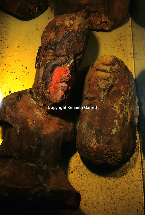 Olmec; El Manati; Wooden Busts; Mexico, in conservation solution tank