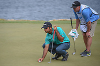 Shubhankar Sharma (IND) lines up his putt on 11 during day 2 of the World Golf Championships, Dell Match Play, Austin Country Club, Austin, Texas. 3/22/2018.<br /> Picture: Golffile | Ken Murray<br /> <br /> <br /> All photo usage must carry mandatory copyright credit (&copy; Golffile | Ken Murray)
