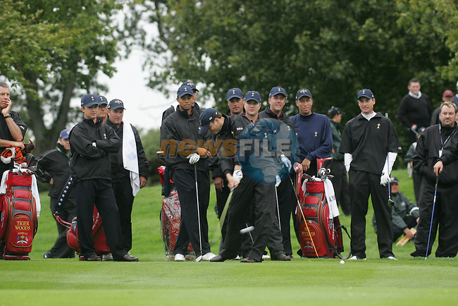 Ryder Cup K Club Straffin Co Kildare...American Ryder Cup Team Member Brett Wetterich playing from the 4th fairway onto the green during wednesday practice...Photo: Fran Caffrey/ Newsfile.<br />