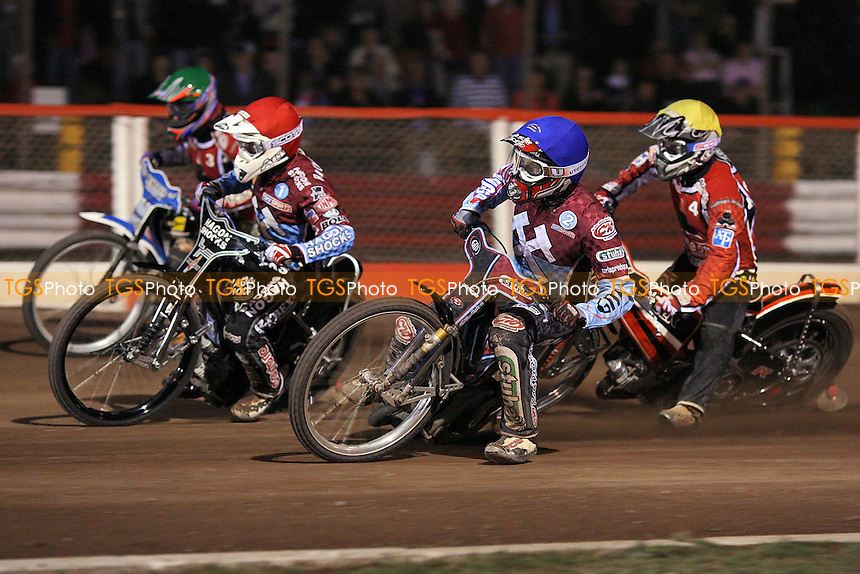 Heat 10: Lee Richardson (red), Partick Hougaard (green), Joonas Kylmakorpi (blue) and Morten Risager - Lakeside Hammers vs Belle Vue Aces - Sky Sports Elite League Speedway at Arena Essex Raceway, Purfleet - 31/07/09 - MANDATORY CREDIT: Gavin Ellis/TGSPHOTO - Self billing applies where appropriate - Tel: 0845 094 6026