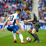 Real Sociedad's Munoz and RCD Espanyol's Kevin Rodrigues  during La Liga match. May, 18th,2019. (ALTERPHOTOS/Alconada)