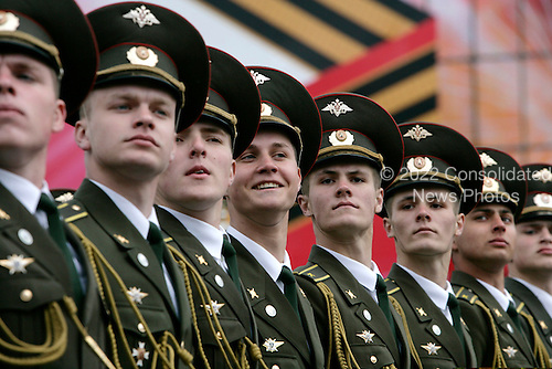 Russian solders march in a military procession commemorating the 60th anniversary of the end of World War II in Red Square, Moscow, Russia, Monday, May 9, 2005. <br /> Credit: Eric Draper - White House via CNP