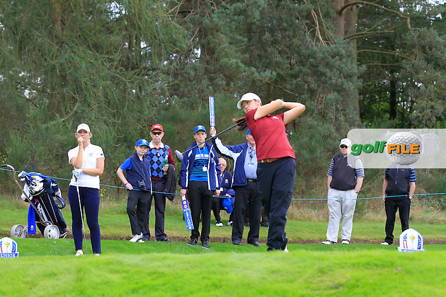 Andrea Lee (USA) on the 16th tee of the Mixed Fourballs during the 2014 JUNIOR RYDER CUP at the Blairgowrie Golf Club, Perthshire, Scotland. <br /> Picture:  Thos Caffrey / www.golffile.ie