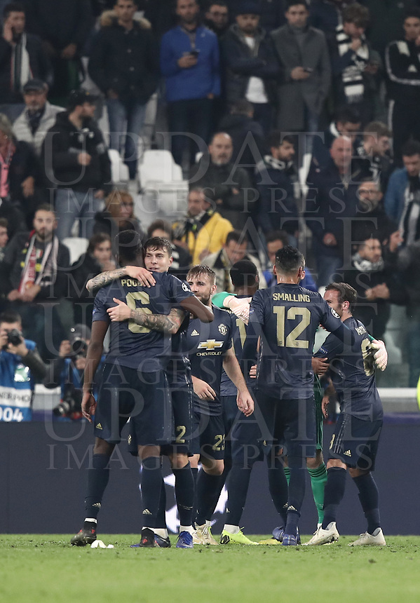 Football Soccer: UEFA Champions League -Group Stage-  Group H - Juventus vs Manchester United, Allianz Stadium. Turin, Italy, November 07, 2018.<br /> Manchester United's players celebrate after winning 2-1 the Uefa Champions League football soccer match between Juventus and Manchester United at Allianz Stadium in Turin, November 07, 2018.<br /> UPDATE IMAGES PRESS/