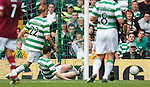 Gary Caldwell clears off the line to spark angry scenes with Artur Boruc