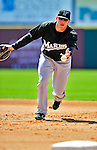 8 March 2010: Florida Marlins' infielder Logan Morrison warms up prior to a Spring Training game against the Washington Nationals at Space Coast Stadium in Viera, Florida. The Marlins defeated the Nationals 12-2 in Grapefruit League action. Mandatory Credit: Ed Wolfstein Photo